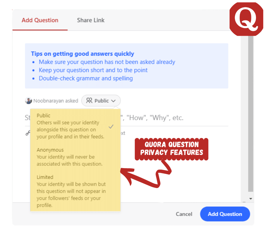 Quora question privacy features